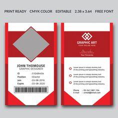 قالب تصميم بطاقة هوية حمراء للشركات Id Card Template, Layout Template, Card Templates, Creative Business, Corporate Business, Corporate Identity, Employee Id Card, Photographer Business Cards, Best Templates