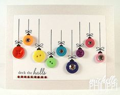 Diy christmas cards simple button ornaments 40 New Ideas Cheap Christmas Crafts, Noel Christmas, Holiday Crafts, Christmas Ornaments, Christmas Buttons, Christmas Balls, Simple Christmas, Christmas Decorations, Button Christmas Cards