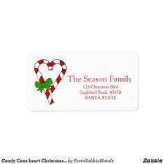 Candy Cane heart Christmas address label    #portosabbianatale #christmas #holidaymail