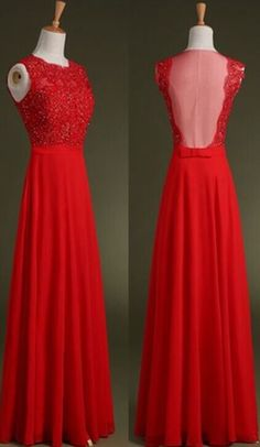 Pretty Red Scoop Sleeveless Red Applique Sequins Chiffon Full Length Prom Dress Red Prom Dresses Prom Gowns Formal Gowns