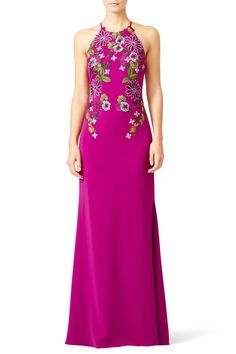 Rent Pink Flower Power Gown by Badgley Mischka for $150 only at Rent the Runway.