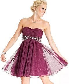 Short Cranberry Red One-Sleeve Homecoming Dress at PromGirl.com ...
