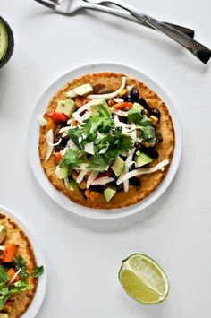 Roasted Garlic + Caramelized Veggie Tostadas I howsweeteats.com