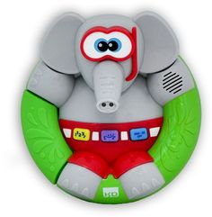 Kidz Delight My Bath Time Lil' Elephant  Give your little one a funny bath time friend with this Kidz Delight My Bath Time Lil' Elephant.Press on the corresponding key to learn about numbersPress on the rubber ring on the left to see water sprinkle from the elephant's trunkTouch the contacts on the belt to trigger laughing sounds & change language