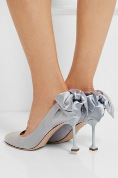 Heel measures approximately 85mm/ 3.5 inches Sky-blue satin Slip on Designer color: Astro Made in Italy