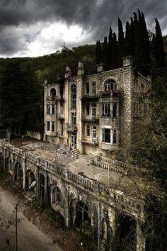 The abandoned Hotel Skala in the Gagri Mountains, Abkhazia
