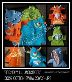 Crocheting: 'Friendly Lil Monsters' Swim Cover-Ups