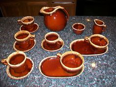 Vintage 16 Piece Set Hull Brown Drip Pottery Mugs Cup Pitcher Snack Trays More | eBay