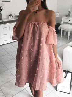 Solid Off Shoulder Mesh Chiffon Dress - Abiti estivi Casual Dresses, Fashion Dresses, Pink Dress Casual, Formal Dresses, Summer Outfits, Summer Dresses, Mini Dresses, Chiffon Dresses, Fall Dresses