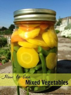 Learn how to preserve your garden vegetables by canning this delicious combination of mixed vegetables. #vegetablesgardening