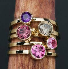 Amethyst 14kt  Gold  Birthstone Stacking Ring by janeysjewels, $159.95