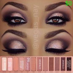 Naked Palette 3 eyeshadows 1.) prime eyes and sweep NOONER through crease 2.) darken crease w/ DARKSIDE  apply BLACKHEART to outer crease 3.) blend out above crease w/ LIMIT 4.) mix NOONER  BLACKHEART blend any harsh lines through crease 5.) apply DUST (wet) on Lid; then pat BUZZ over lid lightly. 6.) ..glitter is by @toofaced in blue angel over lid lightly using gel adhesive 7.) wearing NYX Cosmetics gel liner  smudger in Jet