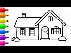 Doll House Drawing and Coloring - How to Draw Cute House, White House Drawing, House Drawing For Kids, Simple House Drawing, Simple Line Drawings, Easy Drawings For Kids, Cute Little Drawings, Cute Drawings, Drawing Pictures, Simple Pictures