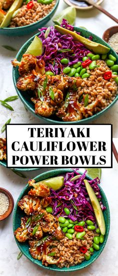 Teriyaki Cauliflower Power Bowls are vegan and easily made gluten-free for a healthy, nutrient charged meal full of protein and fiber. Vegan Bowl Recipes, Tasty Vegetarian Recipes, Superfood Recipes, Vegan Dinner Recipes, Vegan Dinners, Lunch Recipes, Whole Food Recipes, Healthy Recipes, Healthy Dinners