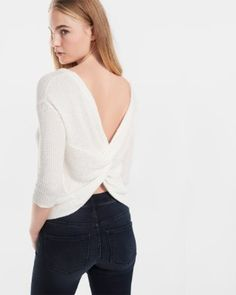 twist back pullover sweater
