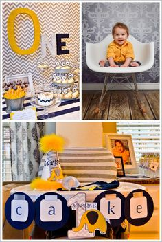 Chevron & Elephant First Birthday Party...not sure on the yellow tho for a boy...