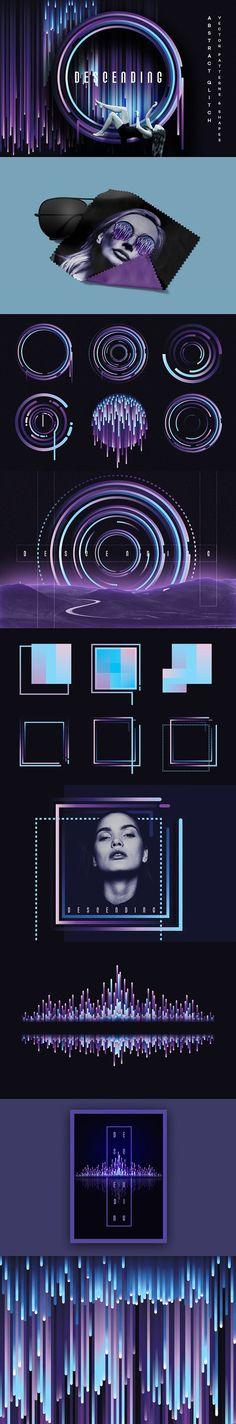 Descending- Glitch design elements by Polar Vectors on @creativemarket