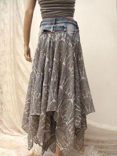 Denim Festival folk maxi skirt Boho upcycled skirt gypsy