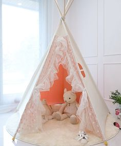 Pink lace teepee tent, play tent, kids tent, play house, indian tent on Etsy, $257.43
