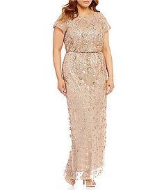 1a70c029ae3 Brianna Plus Round Neck Short Sleeve Sequined Blouson Gown Mocha Bridesmaid  Dresses