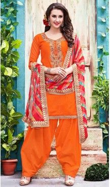 Orange Color Chanderi Silk Straight Cut Paty Wear Punjabi Patiyala Suit | FH560783582 Follow us @heenastyle #Punjabi #salwarkameez #online #patiala #boutique #cotton #punjabipatiala #patialasuits #heenastyle #fashion #shopping, #women #appeal #girls #dresses #party #casual #designer #pakistani #long #palazopant #collection #plussizefashion #plussize #bigsize #plussizemodel #salwarkameezonline #punjabidress #heenastyledress #readymadedress #readymade #embroidery