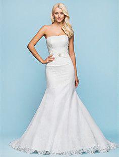 Encaje vestido de novia palabra de longitud Strapless trompe... – USD $ 199.49