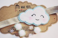 Snowy Winter Cloud Headband Hair Band Elastic by LittleMagicPieces