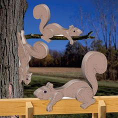 """3D Squirrel Rail Sitter Patterns.  Adorable lounging squirrels just hanging out in your front or backyard. 11""""H x 15""""W x 3""""D.   Pattern #2416  $12.95  ( crafting, crafts, woodcraft, pattern, woodworking, yard art, animal ) Pattern by Sherwood Creations"""