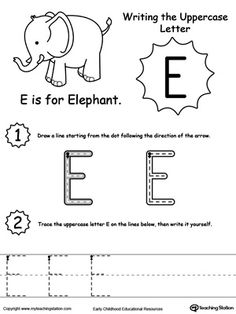 Writing Uppercase Letter E: Help your child practice writing the uppercase letters of the alphabet with this printable activity worksheet.