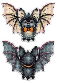 New Counted Modern Cross Stitch Hand Embroidery Kit on Plastic Canvas by Russian Manufacture, Cute Baby Bat, Mini Black Bat Cross Stitch - Cross stitch embroidery - Modern Cross Stitch, Cross Stitch Kits, Cross Stitch Charts, Cross Stitch Designs, Cross Stitch Patterns, Hand Embroidery Stitches, Cross Stitch Embroidery, Embroidery Patterns, Ribbon Embroidery