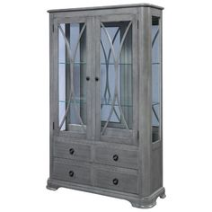 Amish Abby Curio Cabinet with Drawers Attract attention with a custom made Abby Curio Cabinet. Adjustable glass shelves, touch lighting and built in your choice of wood and stain. Amish wood furniture built in America. #curiocabinet #curios #diningstorage