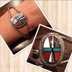 Sterling Silver Zuni Inlay Bracelet Cuff Native American Zuni Inlay Bracelet Cuff , Marked Sterling and 925 , didn't fit me, fits larger wrist, adjustable with care, has Sleeping Beauty Turquoise , MOP , Coral Spiny Oyster , and Onyx , nice sturdy made bracelet , not thin and cheap , a little heavy Jewelry Bracelets