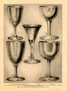 "wine glasses USA 1911 lithographs 7 x 9"" $25"