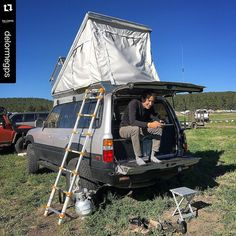 """One of my favorites from my  @delormegps #instagramtakeover last week.  """"Was great to run into Lucas this morning at #overlandexpo where he was activating his new #inReach. He has some big #overland plans to South America in his custom pop-top #80series #Toyota #LandCruiser as well as some Arctic sailing adventures. Welcome to the #inreachlife Lucas!"""" #inreachoffroad #lc80 #offroad #rtt #traveler #adventurer #adventuremobile #landcruiser80 #landcruiser80series by explorelements"""
