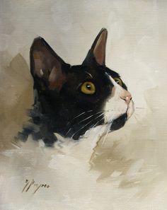 Original Oil painting of a cat by UK artist J by johnspaintings