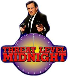 'threat level midnight office' Sticker by The Office Stickers, Phone Stickers, Red Bubble Stickers, Cute Stickers, Reaction Pictures, Funny Pictures, Parks And Recs, Threat Level Midnight, Office Jokes