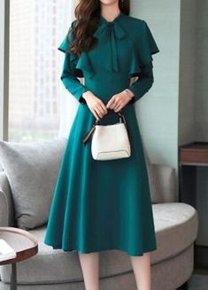 Flouncing Flare Sleeve Bowknot Embellished Dress | liligal.com - USD $34.90