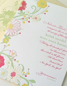 Garland letterpress wedding invitation from Elum Couture Weddings. Customize yours with Paper Passionista.