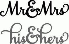 Silhouette Design Store - View Design #57724: mr & mrs sentiment set