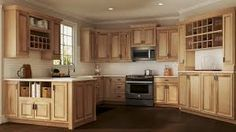 hickory stained cabinets - Google Search Natural Hickory Cabinets, Hickory Kitchen Cabinets, Kitchen Cabinet Remodel, Kitchen Cabinet Styles, Kitchen Cupboards, Bath Cabinets, Farmhouse Cabinets, Maple Cabinets, Grey Cabinets