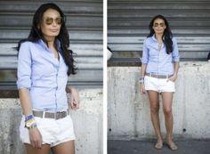 White shorts/collared shirt