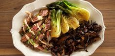 Get Skirt Steak with Bok Choy Recipe from Food Network. ginger, scallions, shiitake mushrooms Get Skirt Steak with Bok Choy Recipe from Food Network. Meat Recipes, Asian Recipes, Dinner Recipes, Cooking Recipes, Healthy Recipes, Dinner Ideas, Meal Ideas, Pan Cooking, Kitchens