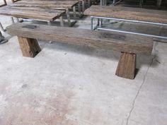 $344 Reclaimed teak railroad tie bench
