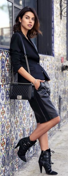 NEW YEAR AND NEW STYLE - black leather trouser short, leather lapel stretch wool jacket, suede buckle boots / VivaLuxury