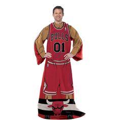 Chicago Bulls NBA Adult Uniform Comfy Throw Blanket w/ Sleeves