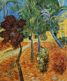 """VG94-Trees in the Asylum Garden-Vincent van Gogh Repro Oil Painting on Canvas 20x24"""""""