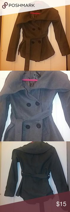 Gray Peacoat Beautiful gray double breasted button up peacoat. Has small cape-like back. Comes with tie for figure flattering look. Waist pockets and chest buttons. Ambiance Apparel Jackets & Coats