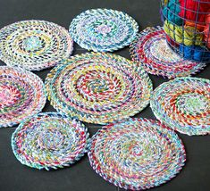 Turn that big pile of fabric scraps into handmade scrap fabric twine. A strong recycled fabric rope that can be used for all sorts of craft projects. Scrap Fabric Projects, Easy Sewing Projects, Sewing Projects For Beginners, Fabric Scraps, Sewing Hacks, Sewing Crafts, Diy Crafts, Sewing Ideas, Upcycled Crafts