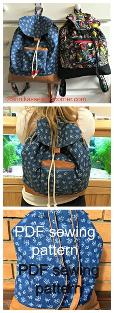 Downloadable pdf sewing pattern for this adorable back pack.