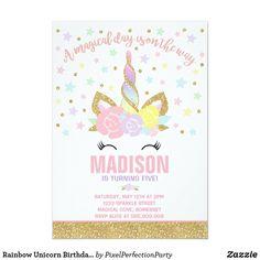 Unicorn Birthday Invitations, Pink Invitations, Unicorn Birthday Parties, Unicorn Party, Custom Invitations, 2nd Birthday, Birthday Ideas, Party Napkins, Create Your Own Invitations